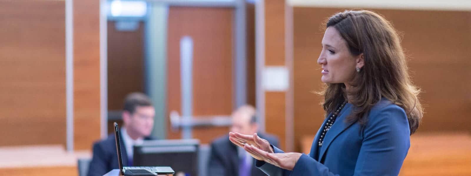 GBM Lawyer Sydney McLafferty defends client in court