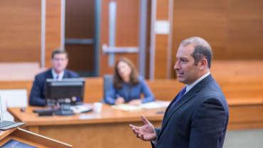 J. Scott Bowman defends client in court